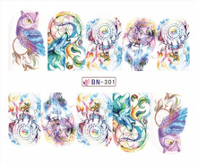 Nail Sticker  Water Transfers Stickers Nail Decals TASSEL FEATHER DANGLE BN301-306