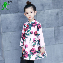 2017 children's clothing girls clothes embroidery cartoon cheongsam plus velvet thick baby flower girl party dresses dress kids