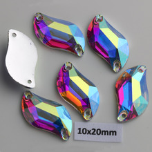 Free Shipping! 100pcs/Lot, 10*20mm Crystal AB / Clear AB Flat Back #3233 S-shaped Resin Sew On Stones