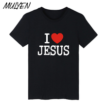 MULYEN I Love Jesus T Shirt Men Hip Hop Cotton t-shirt Jesus Is My Savior Tshirt Keep Clam Design Summer Brand Clothing Top Tee(China)
