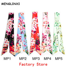 MENGLINXI 2017 Twilly Luxury Brand Small Print Silk Scarf For Women Geranium Floral Headband Handle Bag Ribbon Long Scarves