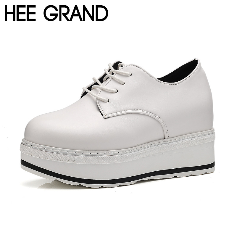 HEE GRAND Women Flats Platform Shoes Solid Black and White Lace-up Spring Creppers Thick Bottom Shoes Woman XWD5329<br><br>Aliexpress