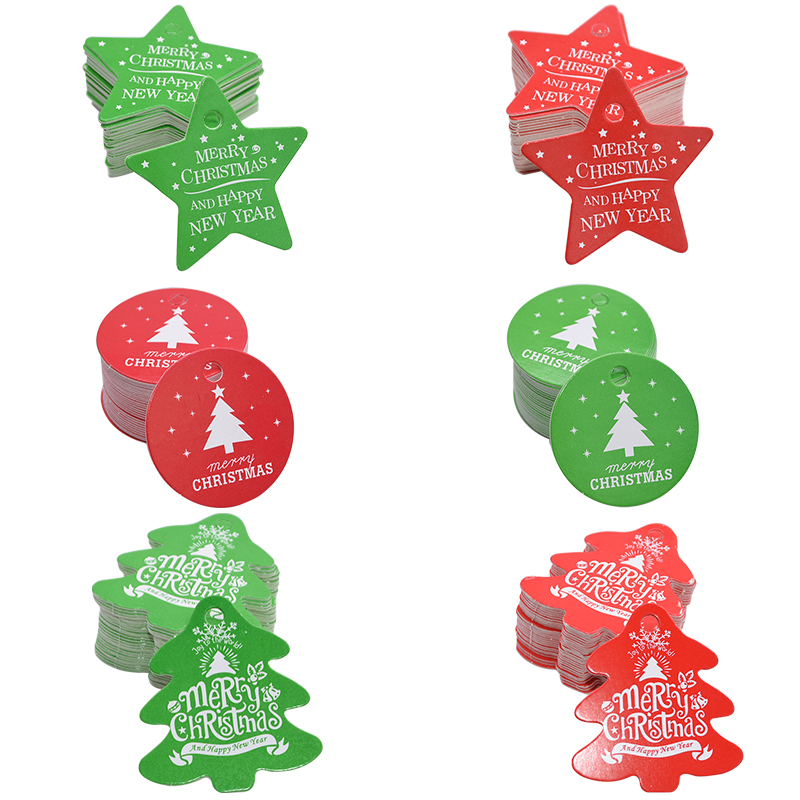 50Pcs Santa Kraft Paper Christmas Hanging Label Price Hang Tags Cards   X