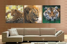 African Animal Prints Picture Leopard Lion Painting Face Tiger Head Oil Painting Realist Canvas Wall Decor Pictures