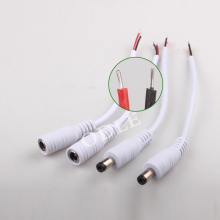 Free Shipping 10pcs Female + 10pcs male 5.5 X 2.1mm DC Power Connector Adapter Cable Pigtail Plug Wire