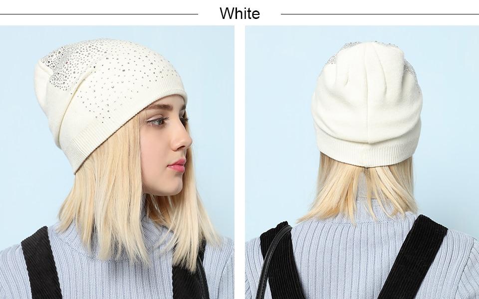 Ralferty Women's Hats Shiny beads Beanies Skullies Street Fashion Autumn Winter Hats For Women Thick Double Layer Caps Casual 3
