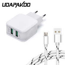 Buy 5V 2.5A 2 USB port EU fast Charger Adapter + 1m metal shell micro usb cable samsung Galaxy redmi note 4x meizu M5 U20 LG HTC for $4.99 in AliExpress store