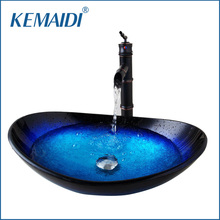 KEMAIDI US Stock Round Taps Bathroom Glass Basin Sink Faucet Vessel Drain Combo Set Counter Top Water Mixer Vanity Stream Spout(China)