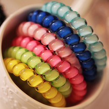5Pcs/lot Fashion Cute Candy Color Hair Jewelry Headbands Telephone Line Hair Rope For Women Hair Band(China)