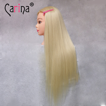 Blonde Hair Hair Mannequin Heads Blonde Wig Head Hairdressing Model Hairstyle Training Head(China)