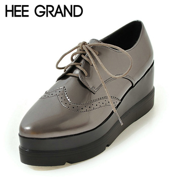 HEE GRAND Platform Brogue Shoes Woman 2017 Creepers Casual Wedges Lace-Up Flats Silver Shallow Women Oxfords Shoes XWX5796