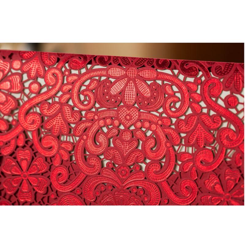 1pcs Sample Gold Red Laser Cut Luxury Flora Wedding Invitations Card Elegant Diamond Lace Favor Wedding Event & Party Supplies (5)