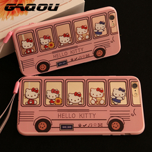 GAQOU Hello Kitty Cartoon Case for Apple iPhone 6 6s plus Soft Silicon + PC Pink Bus HelloKitty Case With Strap & Dust Plug(China)