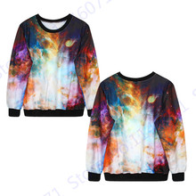 Harajuku Style Space Galaxy Print Exercise Sweaters Autumn Training Sweatshirts Hip Hop Hoodies Winter Warm Jacket & Coat Womens(China)