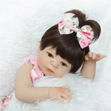 "22"" full body silicone reborn baby dolls blue/brown eyes optional can enter water children doll gift bebe alive reborn bonecas(China)"