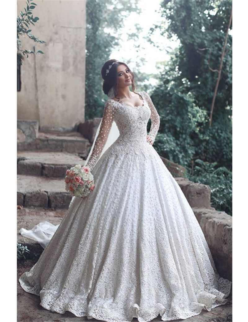 de noiva Luxury Long Sleeve Lace Ball Gown Wedding Dress 2017 ...