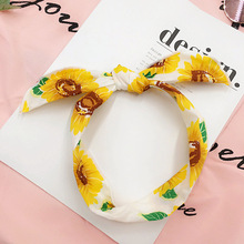 Summer Fashion Flowers Pattern Hairbands Rabbit Ears Female Chiffon Sunflowers Headbands Comfortable Fabric(China)