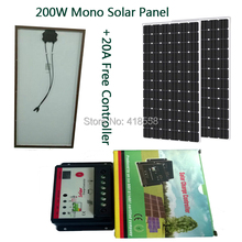 free shipping mono crystalline solar panel 200w with solar charge controller 20A, 12V/24V Auto 100W solar panels 2pcs