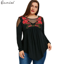 Gamiss Women See-Through T-Shirts Plus Size Floral Embroidery Fishnet Insert Babydoll Tops Long Sleeves Autumn Female Shirts(China)