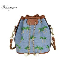 VESNZIMA fashion small ladie's shoulder bag embroidery drawstring bag for lady female hot 2017 crossbody bag on a chain VZ085ZN