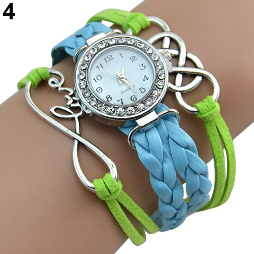 Popular Natural Womens Double Infinity Crystal Dial Leather Bracelet Charm Wrist Watch  NO181 5UV7<br><br>Aliexpress