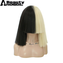 ANOGOL BEAUTY Hair Cap+ 2 Tones Half Blonde And Black Flat Bangs Sia Straight Yaki Style Synthetic Cospaly Wig For Party(China)