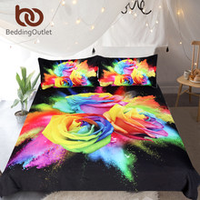 BeddingOutlet Colorful Roses Bedding Set for Woman 3D Printed Duvet Cover Set Floral Bedclothes 3pcs Watercolor Home Textiles(China)