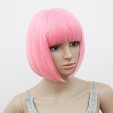 Anime Wig Synthetic Heat Resistant Afro Kinky Short Wavy Pink Hair Lolita Wigs Anime Peruca Pelucas Cosplay Short Anime Wig