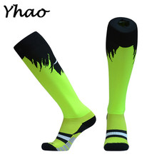 Yhao Brand New Design Professional Soccer Socks Knee High Non-slip Compression Breathable Absorbent Men Football Socks(China)