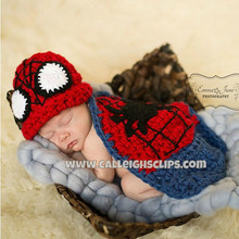 Crochet Pattern Baby Boy Girl Spiderman Beanie Hat with Cape Newborn Photography Props Costume Knitted Baby Hat H119(China)