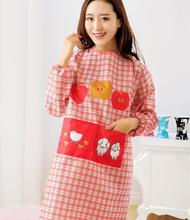 Cartoon Cute Long Sleeved Apron Plaid Household Cleaning Aprons For Woman Kindergarten Teacher Work School Aprons Tablier