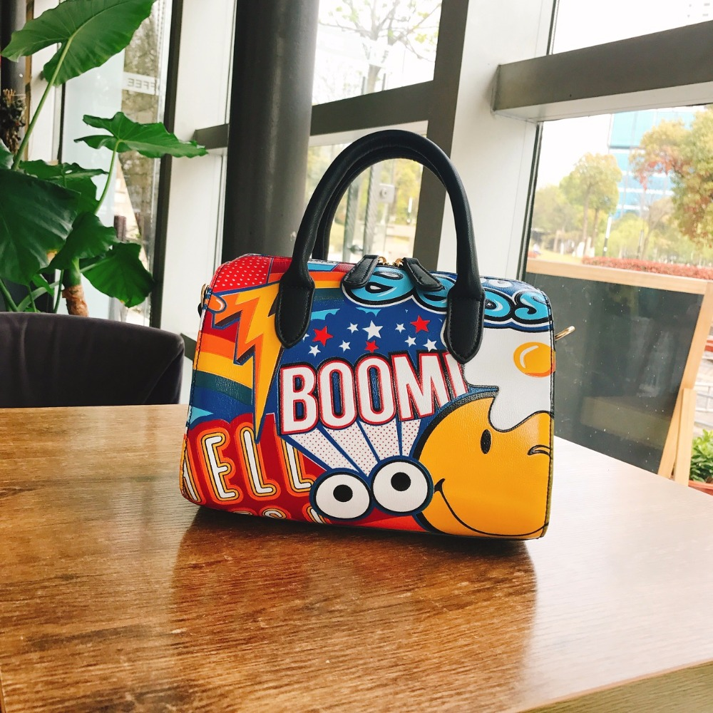 New arrival womens fashion cartoon printing emoji drawing boston bag personalized handbag pillow messenger bags<br>