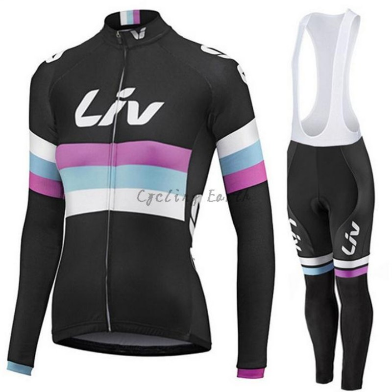 LIV 2016 women long sleeve cycling clothes bike cycling jersey bib pants sports kit ropa maillot ciclismo
