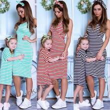381a04d14258 Vestiti da Madre figlia di moda Famiglia Vestiti di corrispondenza woemn  del capretto Ragazze Casual Estivo A Righe Vestito Dall.