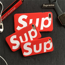 Supreme logo red Case For iphone 7 7plus 5 5s 6 6plus Luxury Matte Phone Cover Coque Fundas Capas Fashion tide brand phone cases