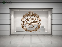 Merry Christmas Wall Decal Happy Holiday Vinyl Wall Stickers For Window Door Home Decor Removable Bells Pattern Art Mural SY171