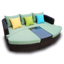 Hot Sale poly outdoor furniture rattan garden set modern rattan sleeping sofa(China)