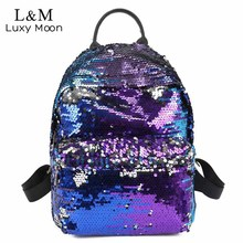 Buy Luxy moon Glitter Backpack Women Sequin Backpacks Teenage Girls Bling Fashion Brand Sliver Black 2018 School Bag mochila XA1026H for $18.18 in AliExpress store