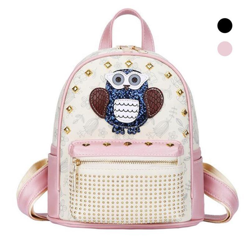 Fashion Cartoon Cute Animal Owl Backpack Women Shoulder School Zipper Bags Backpacks For Girls Pu Leather WomenS Pink Female<br>
