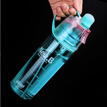 Plastic Outdoor Sport Drinking & Misting Spray Water Bottle Flip Straw 600ml blue pink green spray bottle(China)