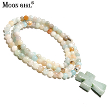 MOON GIRL Colorful Halsband Amazonite Stones Wrap Bracelets High End Dropshipping Jewelry Vintage Cross Bracelet Navidad Gifts(China)