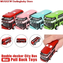 New Diecasts Toy Vehicles Pull Back Bus Collection Model Double-Decker Bus Alloy Die Cast City Bus For Children Interesting Toys(China)