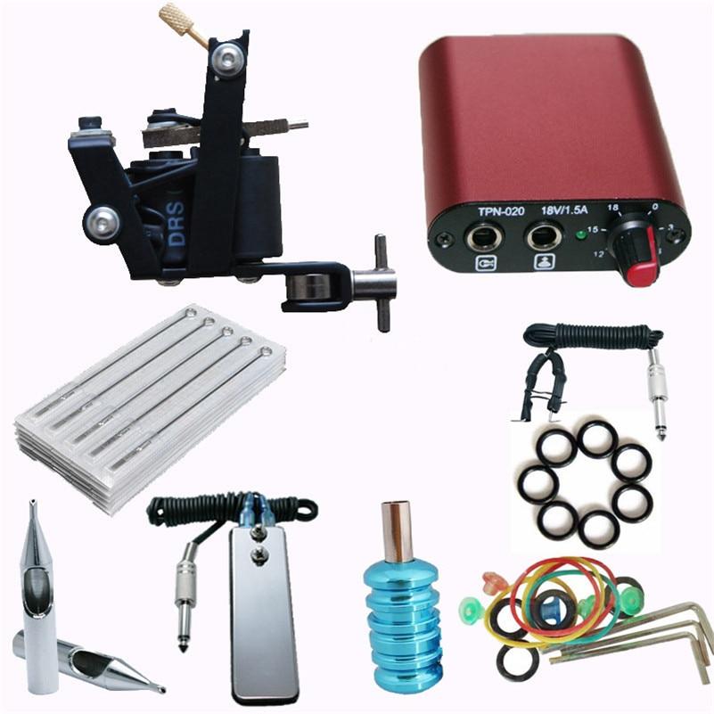 Pro Complete Tattoo Machine Starter Kit 1Pcs Coil Tattoo Machine Gun Needles Clipcord Power Supply Tattoo Tool Body Tattoo Art<br>