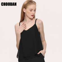 Chiffon Tank Top Women 2017 New Summer Sleeveless Shirt Sexy V-neck Cami Loose Casual Blouses Female Tops Vest Ladies Clothing