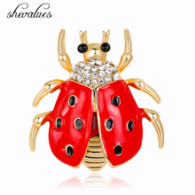 Shevalues Animal Lovely Beetle Women Golden Sliver Brooches Female Clear Crystal Black Red Drip Oil Pins Statement Accessories(China)