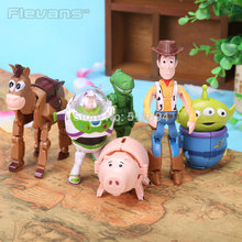 Anime Cartoon Toy Story Woody Buzz Lightyear Hamm Rex Alien PVC Action Figures Toys for Children 6pcs/set DSFG213