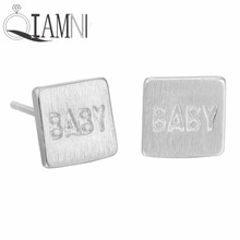 QIAMNI Christmas Gift 925 Sterling Silver Geometric Square Baby Letter Piercing Stud Earring Women Girl Accessories Pendientes