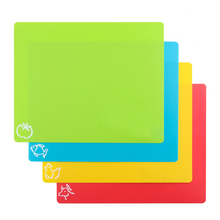 4PCS/SET Plastic Non-slip Rectangle Chopping Block Cutting Board Flexible Mats With Food Icons Kitchen Tools(China)