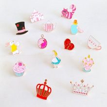 Miage Free shipping Cartoon Cute Alice in Wonderland heart rabbit Brooch Pins badge pin Charm Costume  Jewelry For Women Gift