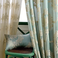 American Style Screens High-grade Chenille Double Jacquard Embroidery Sheer Tulle + Blackout Curtains Custom for Living Room
